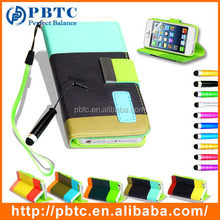 Set Screen Protector Stylus And Case For Iphone 5 , Wholesale Leather Phone Case Card Holder