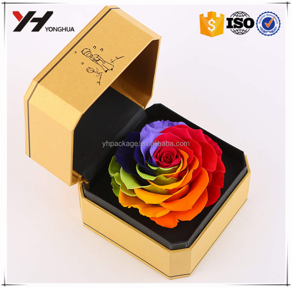 Professional Custom Printing Yellow Acrylic Flower Box