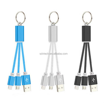 2 in 1 Mulit function Nylon Braided Key Chain Usb charging Cable,mobile phone accessory
