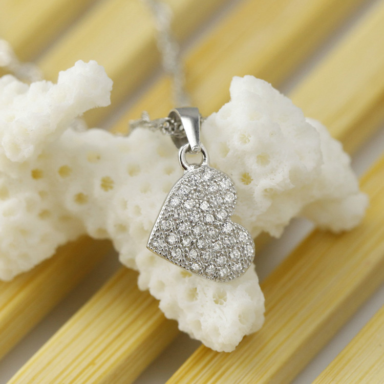 Rhodium Plating Fashion Jewelry, S925 Silver Jewelry, Heart Shape Micro Pave Pendant Necklace