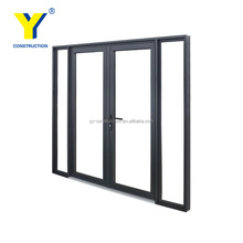China gold supplier high quality aluminium entry doors double swing casement door,American style french doors with sidelights