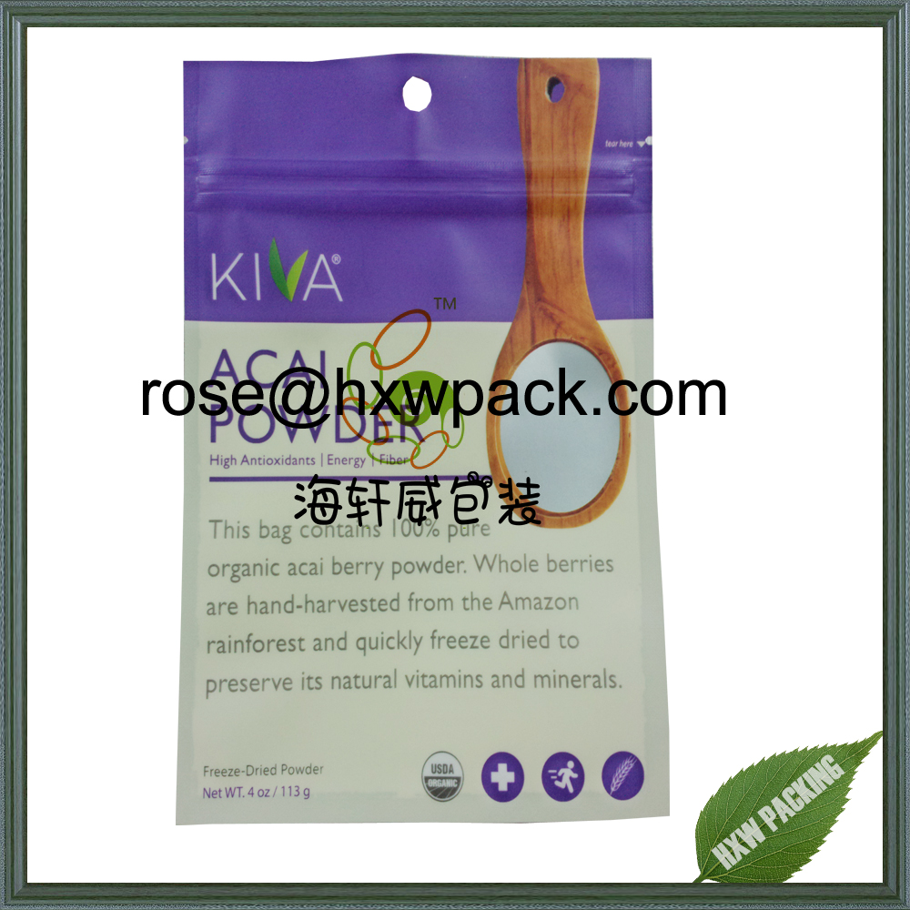 Flat three side seal ziplock food sachet for sprout seed powder packing