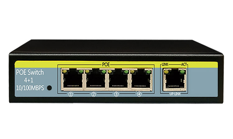 4 PoE Ports 10/100M POE Switch Vlan Function Up To 250 meters
