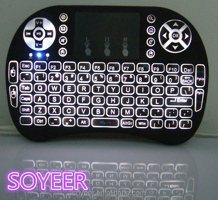 Soyeer Mac Compatible Wireless Keyboard Mini Keybaord I8 Back Light Remote Control Android Tv Box