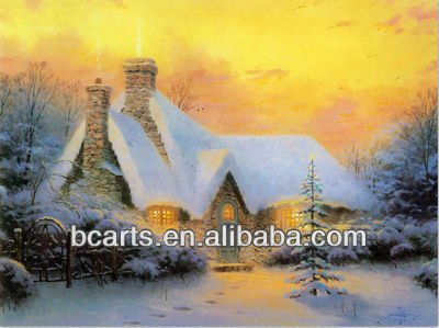 High quality abstract <strong>art</strong> painting wholesale rustic scenery. Winter sunset landscape oil painting village
