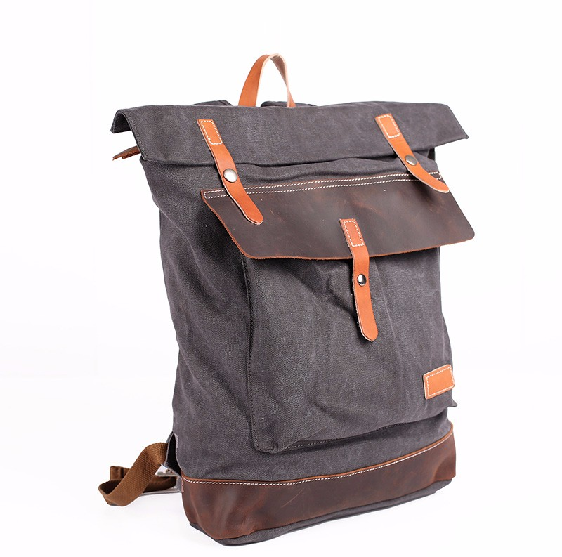 Vintage 100% Cotton Canvas school back pack bag with cowhide leather trims
