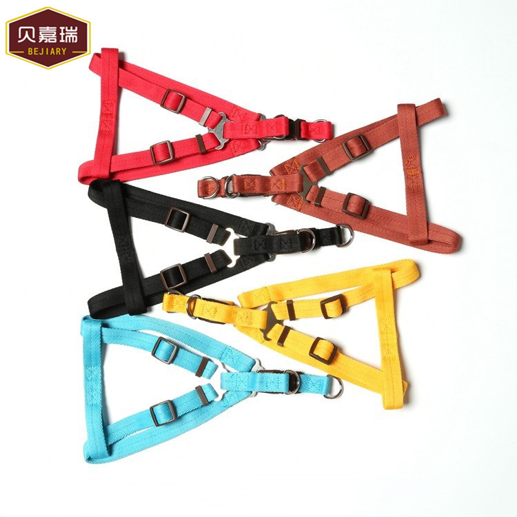 Pure color atacado suprimentos China nylon dog pet harness leash set