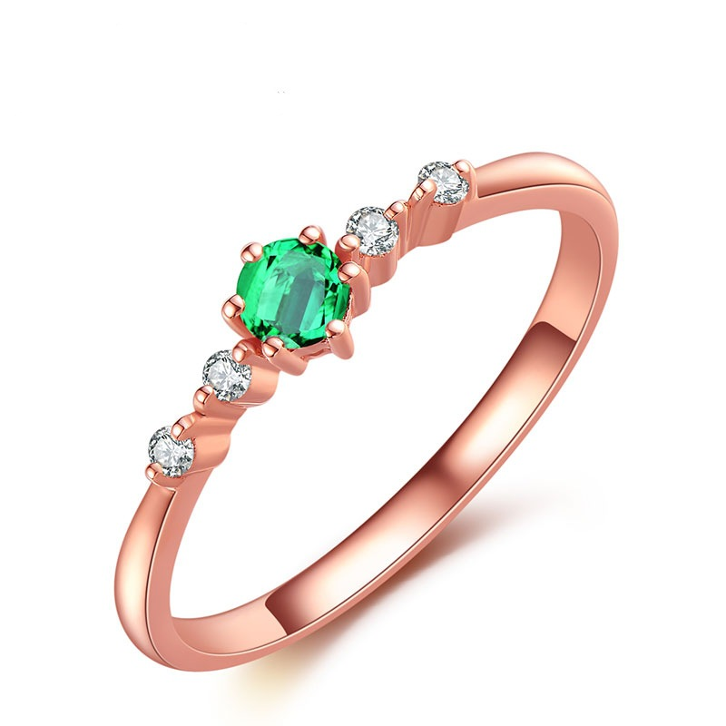 YWMT 2018 Wholesale Euramerican Natural Emerald <strong>18</strong> <strong>K</strong> Rose Gold Wedding Ring For Women