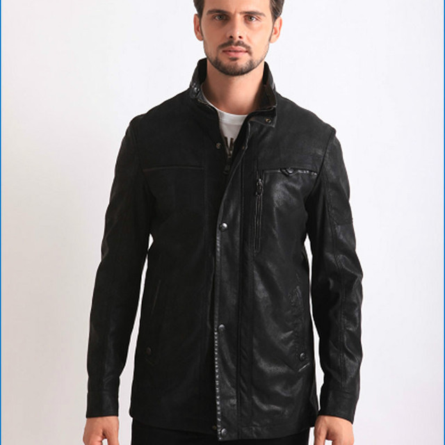 Spring and Autumn Men's Leather Pilot Jacket with Stand Collar