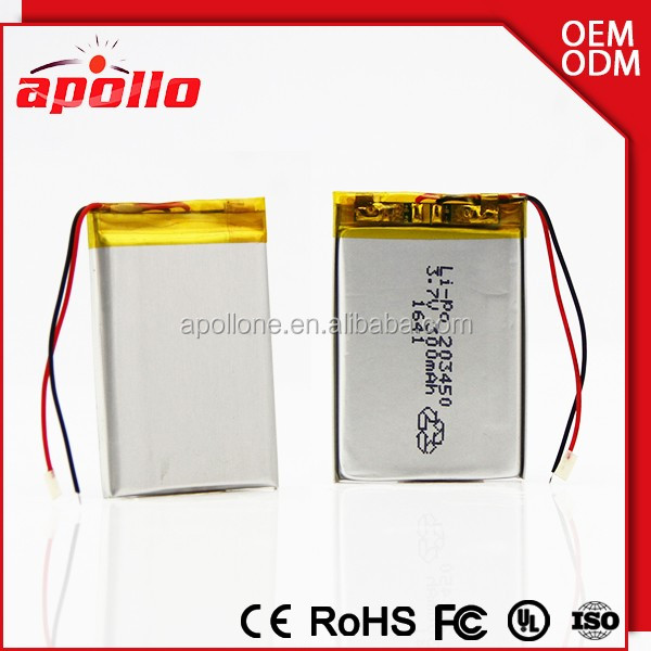 300mah Rechargeable li-ion polymer 3.7v newsun lithium battery 203450