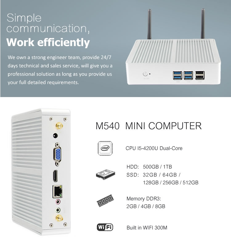 Wholesale fanless computer core i5 mini pc windows 10