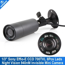 Mini Outdoor Invisible 8 IR 940nm 0 lux Nightvision Sony Effio-E 700TVL Mini Bullet Camera With 3.6mm Lens