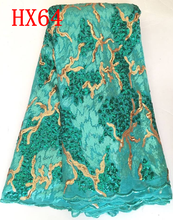 New arrival african lace fabric teal french net tulle lace nigerian fabric with sequence for wedding dresses HX64