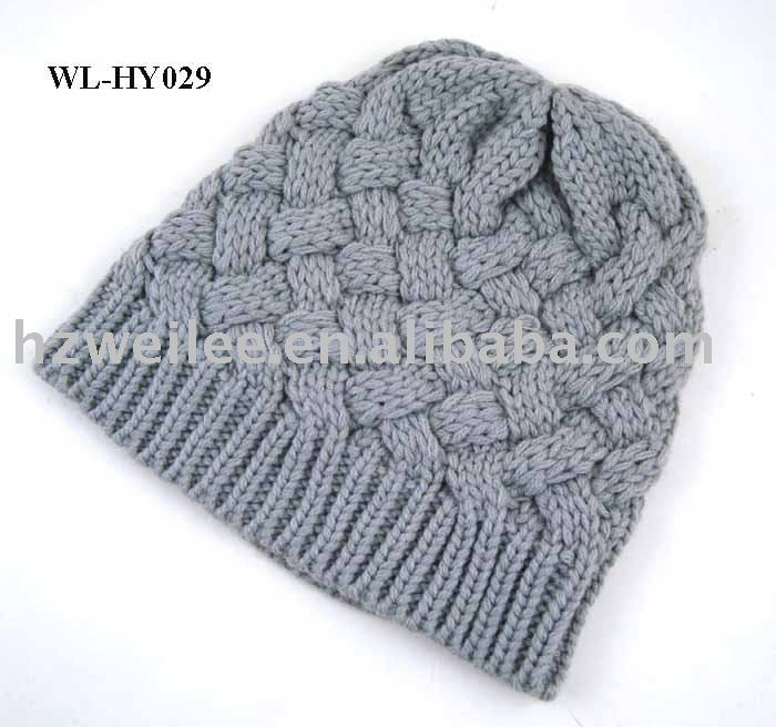 WL-HY029 100%Acrylic grey cable basket knitting winter beanie hat