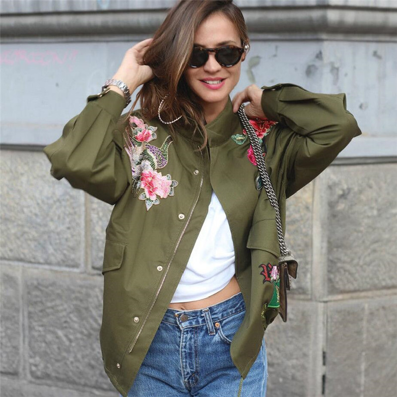 Women Basic Coats Peony floral Army Green Summer Embroidery Denim Jacket