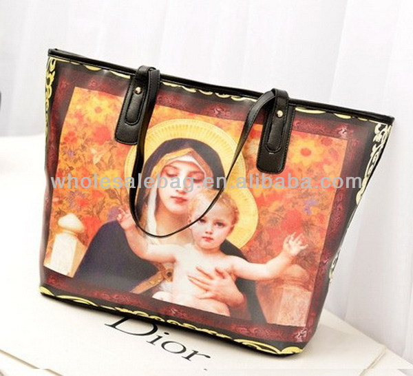 2014 New Trend Designer Large Printing The virgin Mary Pu Leather Handbag Tote Bag For Ladies Women Girl
