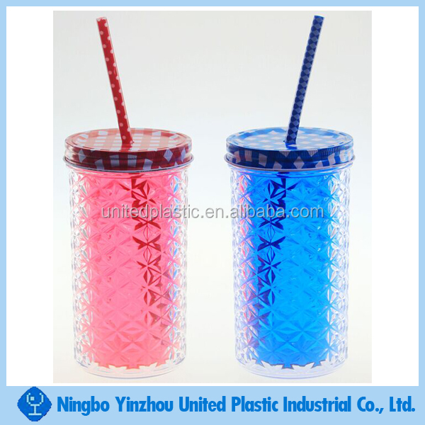 16oz double walled plastic drinking cup with straw and metal lid