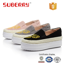 SUBERRY Spring Autumn Female Casual Slip-on Round Toe Women Shoes Summer Leather Thick Heels Loafers Flats Ladies Flat Shoes