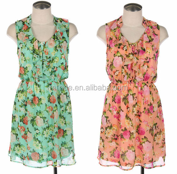 High Collar Printed Chiffon Frock, Sleeveless Printed One-piece, Dress With Tie On Waistline