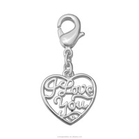 2016 Hot Sale Love You Heart Shape Charm Silver Plated Charm with Lobster Clasp for Charm Bracelets Designs T1247