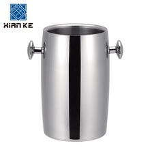 Factory price polish finished round double wall ice bucket stainless steel