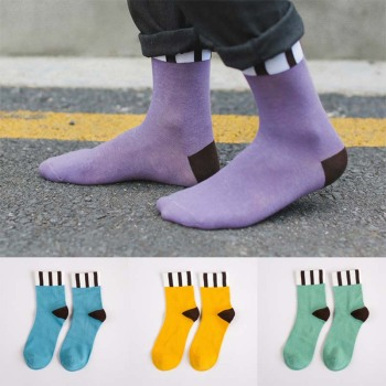 Fashion men socks vertical striped cotton socks