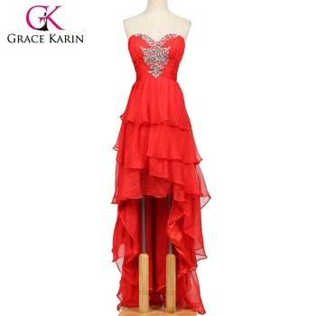 Grace Karin Sexy Strapless Short Front Long Back Red Prom Dress CL3517