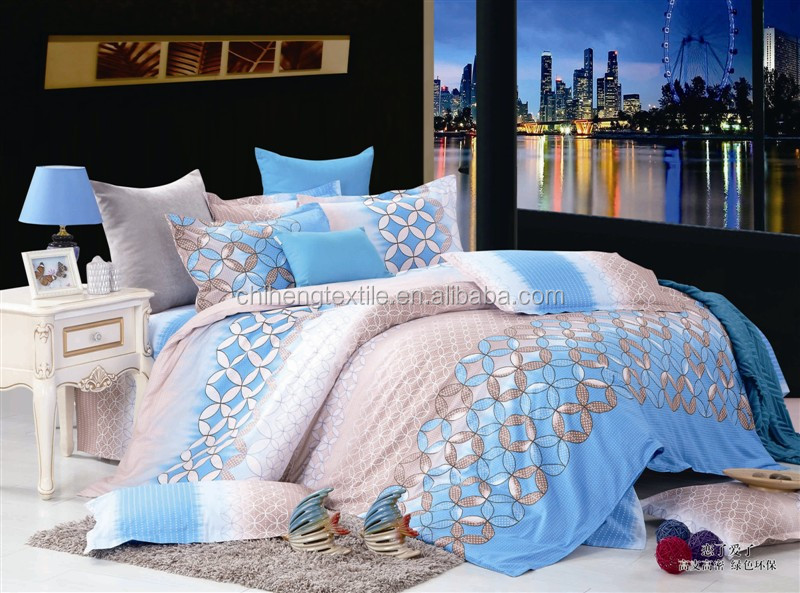 blue and brown printing fresh style chinese bedding sets 4pcs