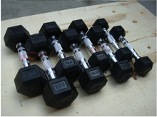 Fixed Black rubber dumbbell with chromed bar
