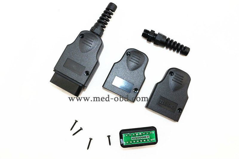 16Pin OBD2 Male Connector J1962m PCB Plug with Enclosure and Strain Relief