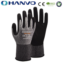 HANVO Level 5 13Gauge HPPE/Spandex Liner With Sandy Nitrile Coated Cut Resistant Gloves