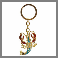 2016 wholesale customized promotional crystal beaded lobster keychain