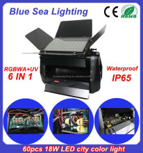 60pcs 18w RGBWA UV 6IN1led city color IP65 waterproof LED stage light