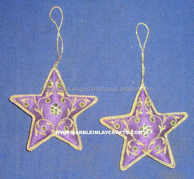 Embroidered and Beaded Star Christmas Ornaments