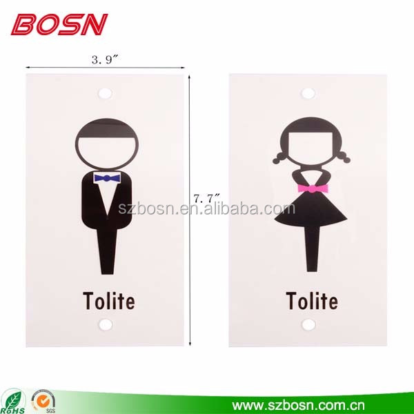 Manufactory custom cute clear acrylic toilet door plaques sign wholesale