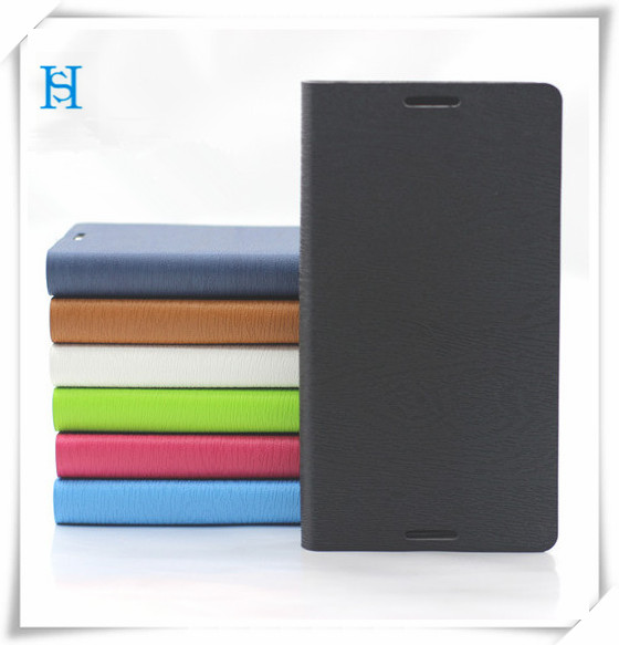 hot selling black flip leather case for sony xperia c case back cover