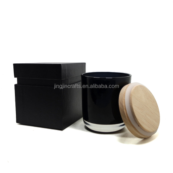 Custom black box with 8.5oz black glass candle jar candle cup with wood lid