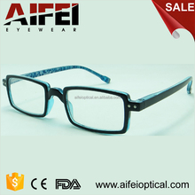 Rectangle frame plastic italy design ce reading glasses with pattern