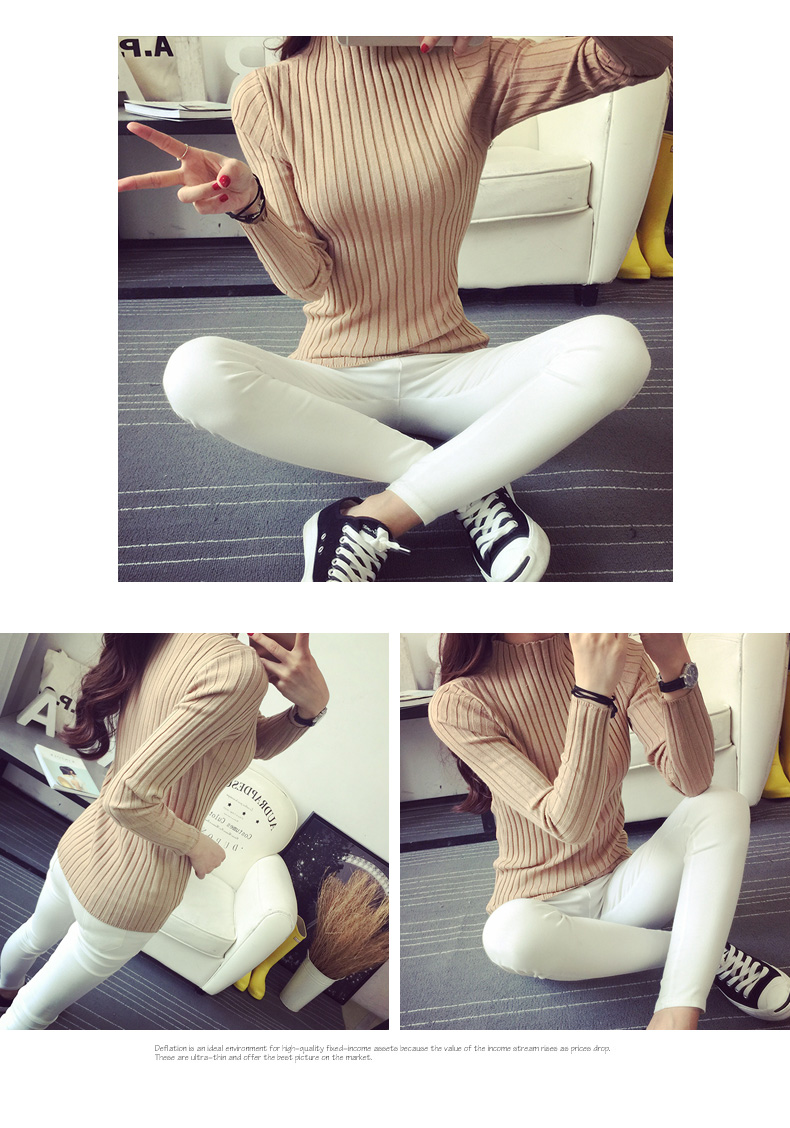 19 Autumn and winter New Korean Half turtleneck Sweater jacket Womens Long Sleeve Set head All-match knitted Sweater woman 38
