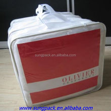 Clear Vinyl PVC Zipper Blanket Bags in PP Cotton Handle Carried Pillows Packaging Bags
