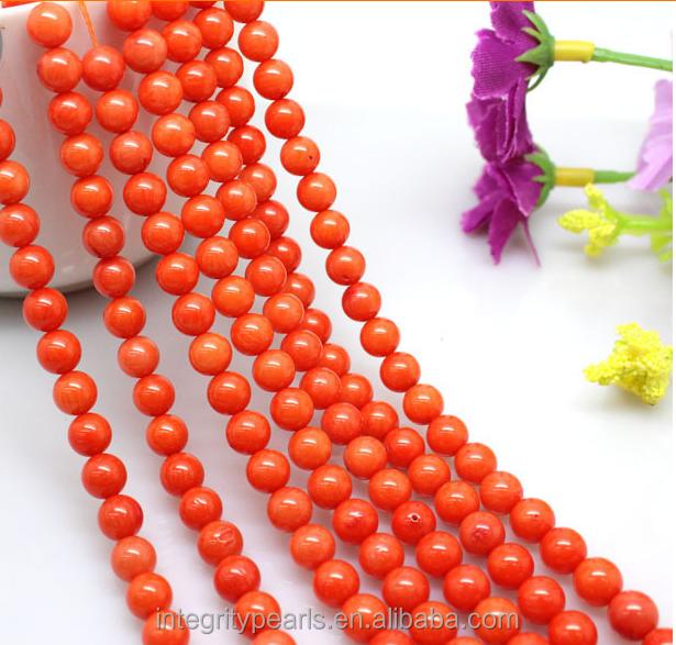 8mm round good qulity jewelry accessory natural A grade orange red coral prices