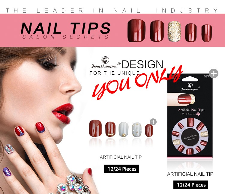 fengshangmei nail art fake nails high quality popular 2017 hot sell curved tips false nails