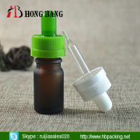 empty reusable round mini amber umber frosted glass dropper Bottle 5ml manufacturer with pipette and childproof cap