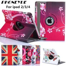 New Arrive 360 Rotating Flower Butterfly Flip Stand PU Leather Case Cover For iPad 2/3/4