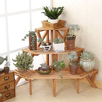 3 Tier Fir Wood Corner Standing