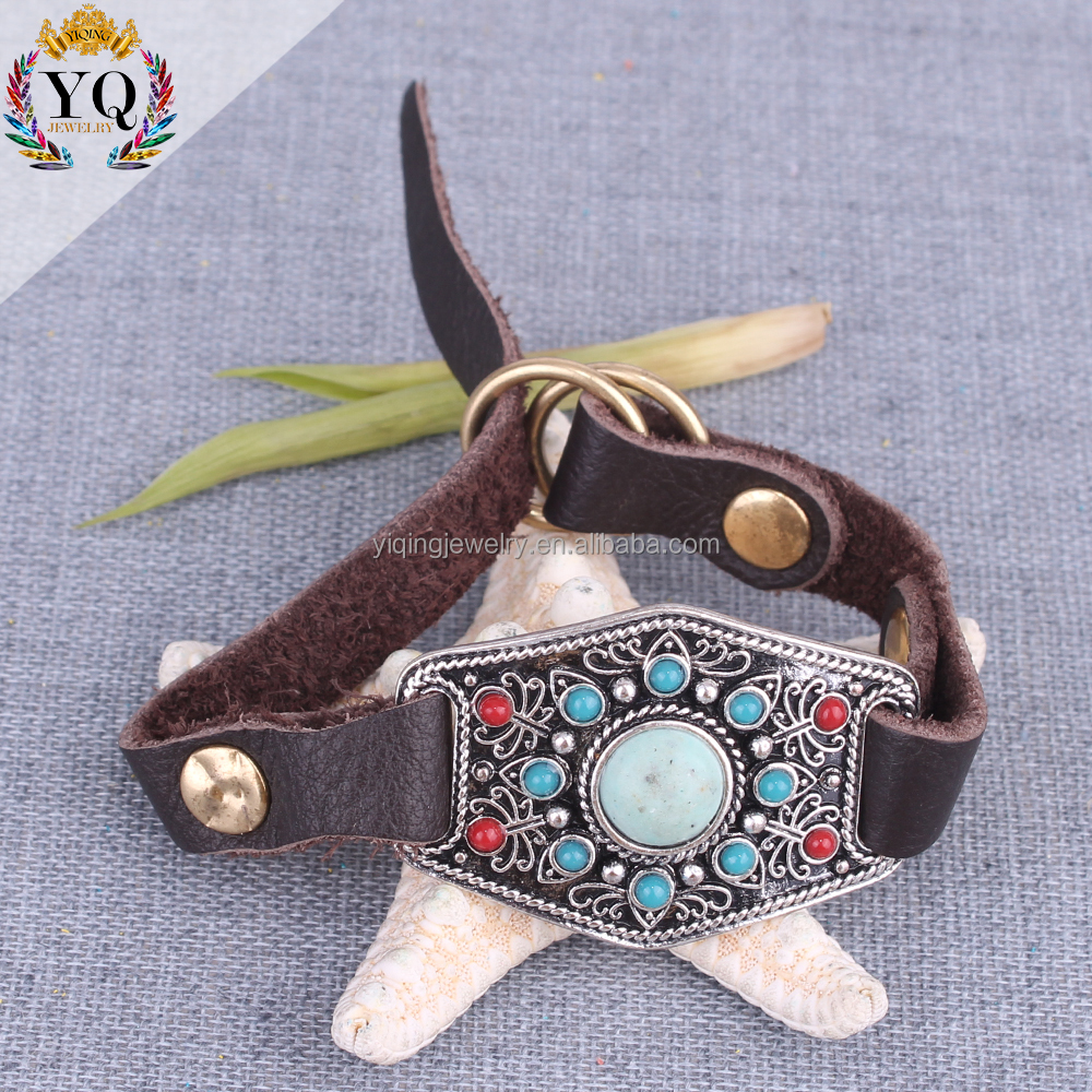 BYQ-00295 high quality india wrist strap leather bracelet vintage turquoise colorful acrylic bead custom leather bracelet