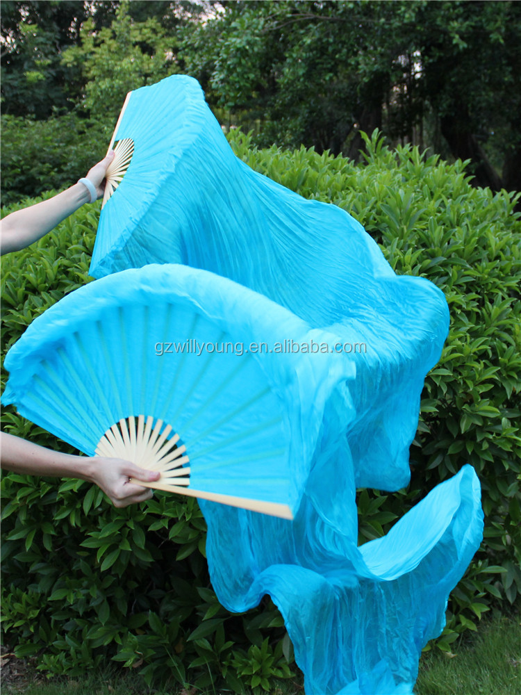 New Belly Dance Real Silk Fans, Belly Dance Silk Veils, Turquoise-180cm long