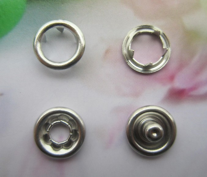 Enviromental-friendly baby Jumpsuit brass 4 part Nickel Color Ring Style Prong Snap Button 9.5mm