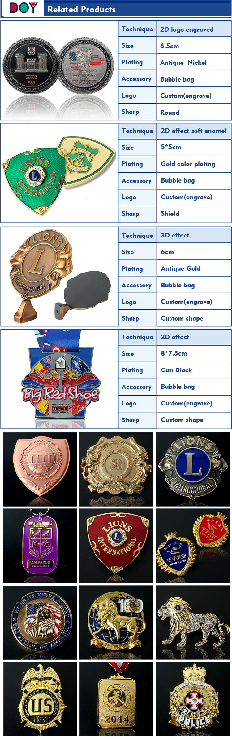 Popular Private Metal Decoration Badges or Buttons, Jeans Shoulder Badges