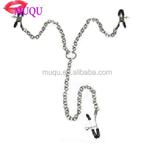 Sex Toy Metal 3 Nipple Clamps with Silver Chain